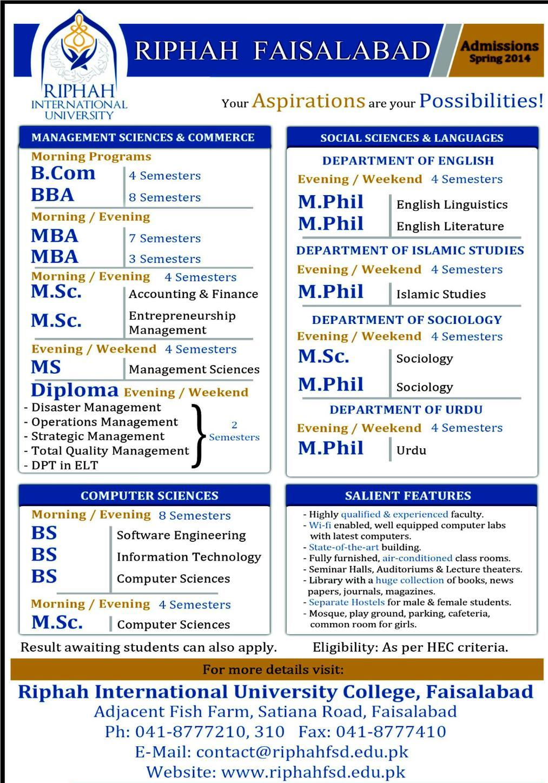 Riphah University Admission 2014