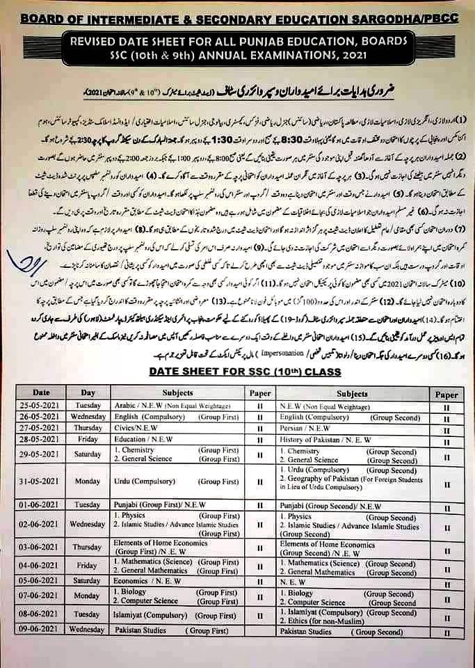 sargodha board date sheet ssc exam