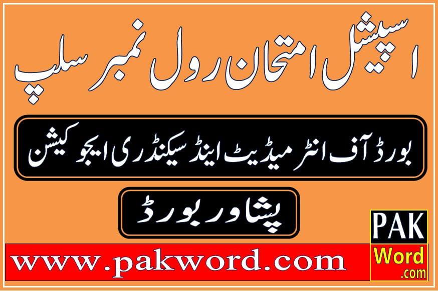 peshawar bise special exam roll no slip