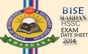 date sheet mardan board inter supply exam 2014