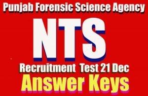 Answer Keys NTS test PFSA