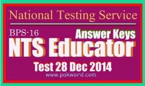 SSE answer key NTS test 28 Dec