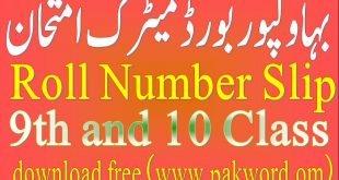 Rolnumbr slip Bisebahawalpur matric 2020