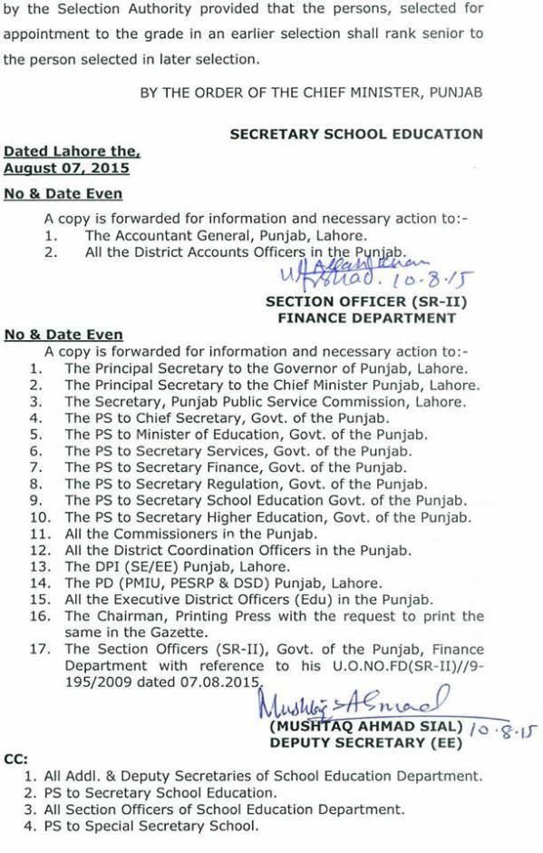 Regular orders Punjab 4