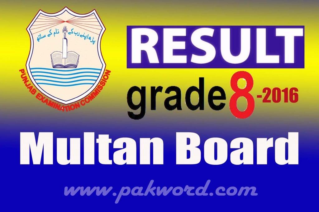 PEC Class 8th Result 2016 Multan Board