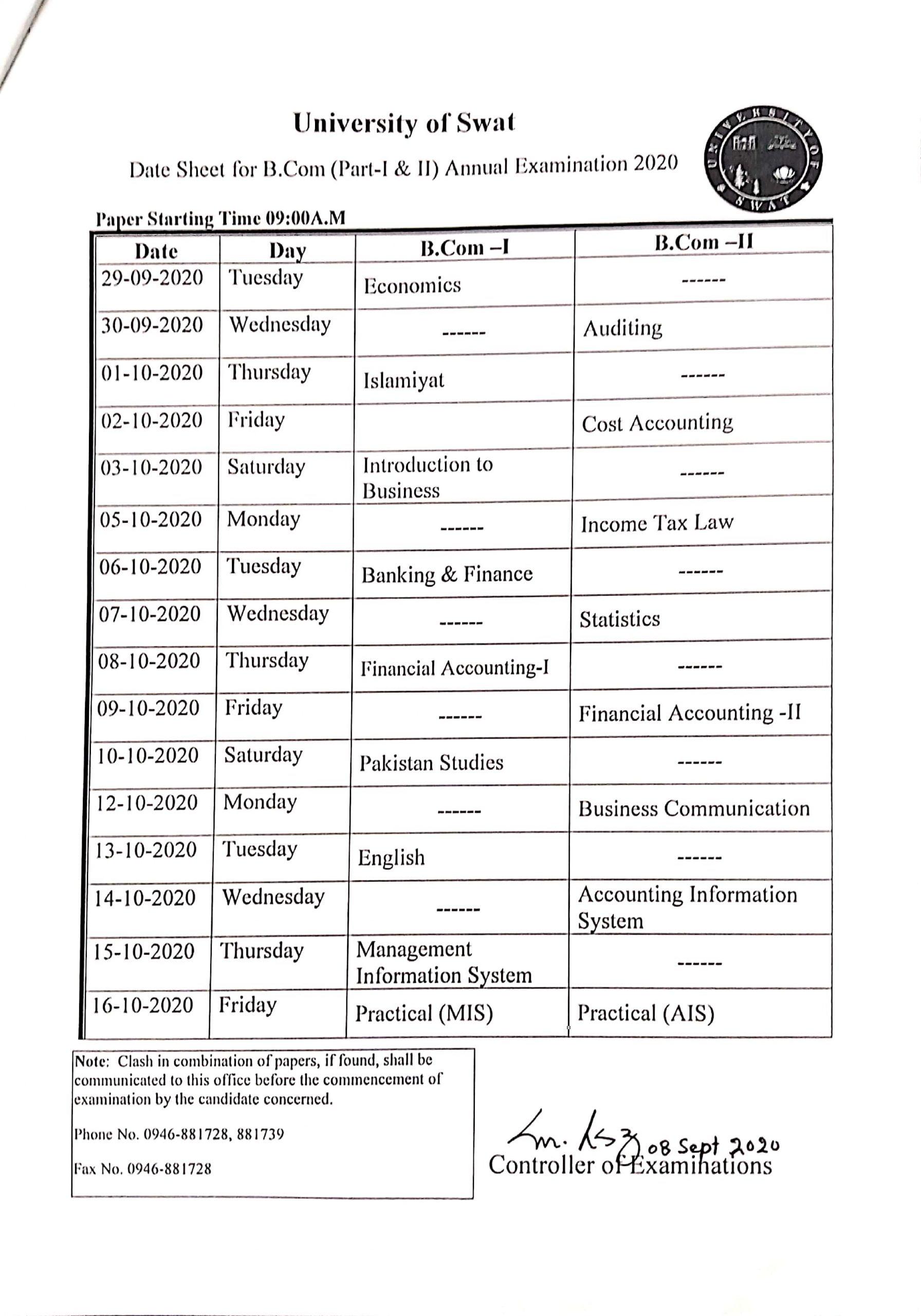 swat university b com datesheet