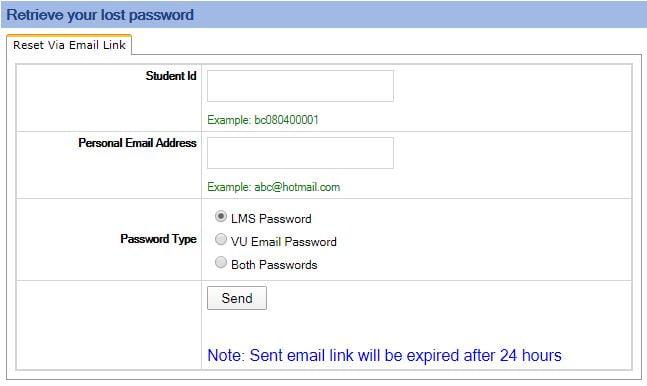 password change option vulms