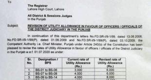 new utility allownce judiciary staff punjab