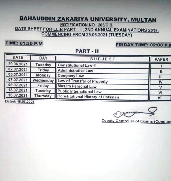 bzu llb date sheet 2nd annual exam