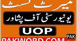 University of Peshawar Merit List BS Programs